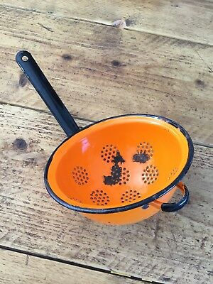 Vintage Orange Enamel Colander Sieve Utensil Kitchenalia