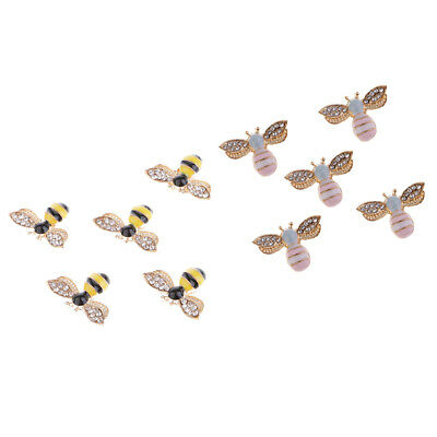 10pcs Bees Crystal Diamante Craft Buttons Flatback Rhinestone Embellishments