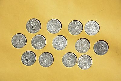 British Empire South Africa, Lot of 13 coins 3D ,all different years in silver
