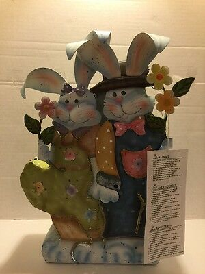 Home Interior Bunny Couple Metal Candle Holder