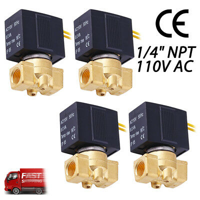 """4PACK 1/4"""" Brass Electric Solenoid Pneumatic Valve 110V-120V AC Gas Water Air OY"""
