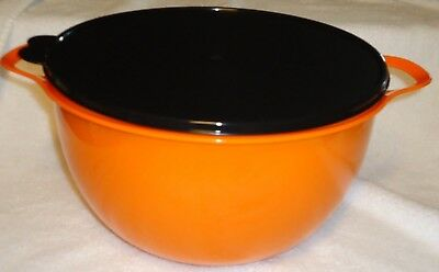 Tupperware Glitter Orange Mega Thatsa Bowl with Black Seal 42 cups.