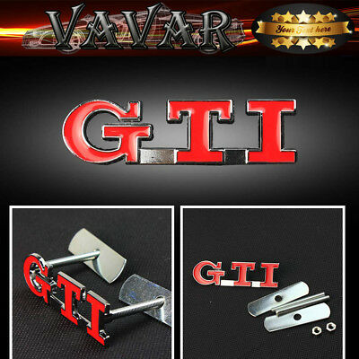 Red GTI Car Front Hood Grille Grill Badge Emblem Auto 3D Metal Logo