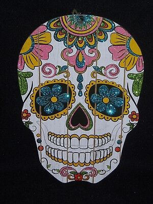 "Day Of The Dead Sugar Skull Wall Hanging Decoration (13"" X 8"") Wooden"