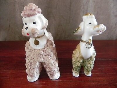 Ceramic Porcelain Spaghetti Poodle Dog Pink Green White Figurine Set