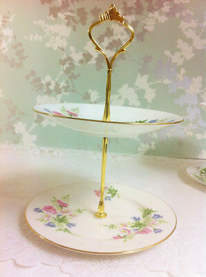 Spring Flowers 2 Tier Mini Cake Stand