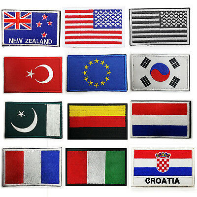 National Country Embroidered Flag Sew ON/Iron On Patch Choose Your Country Fine