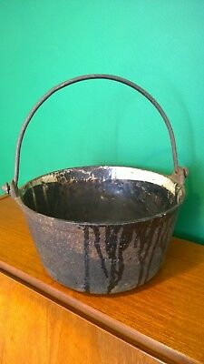 Antique Victorian 19th Century Clark & Co Cast Iron Enamel Hanging Pot Cauldron