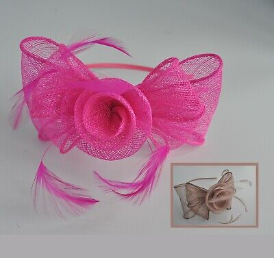 Mocha, teal blue/green, cerise sinamay feather bow wedding fascinator headband