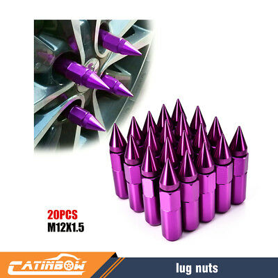 Purple M12X1.5 Spike Tuner Extended Lug Nuts for Wheels Rims 60mm Aluminum 20PCS