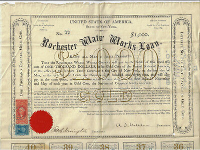 NEW YORK 1869 Rochester Water Works Bond Stock Certificate #77