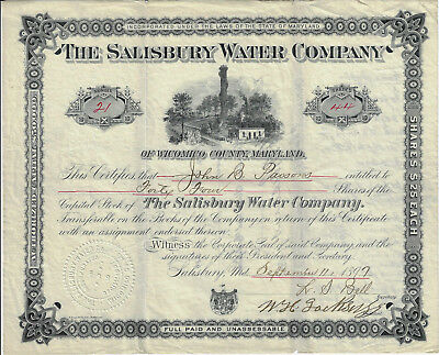 MARYLAND 1897 The Salisbury Water Company of Wicomico Co Stock Certificate #23