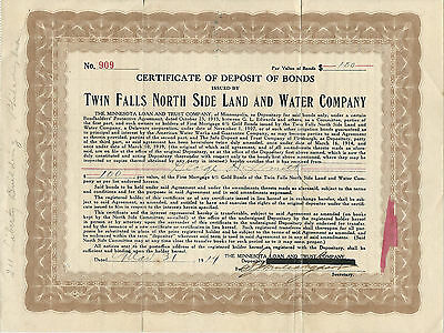 IDAHO 1919 Twin Falls North Side Land & Water Company Stock Certificate