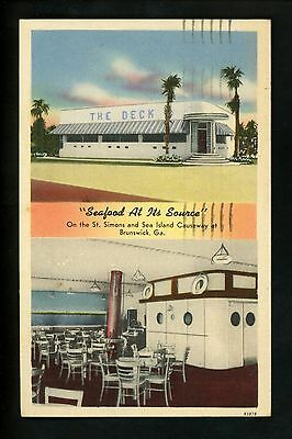 Restaurant Postcard Georgia Ga Brunswick The Deck Seafood Linen Tichnor
