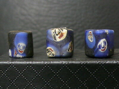 (dV372a)  Tibet: 3 Very Old Tibetan Glass Hand Made Beads (with faces) rares!!!