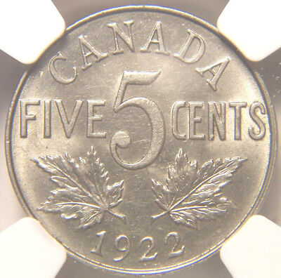 1922 Canada Five Cents MS 62