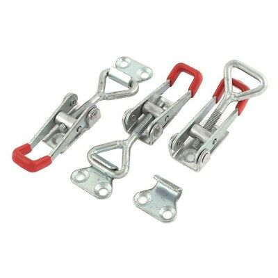 3 PCS Toolbox Case Metal Toggle Latch Catch Clasp 9.5cm Length Silver+Red Z6J4