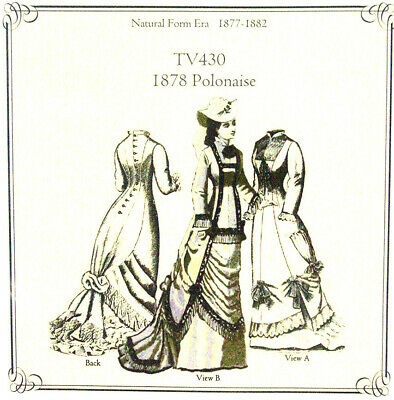 Truly Victorion Old West 1878 Polonaise Dress sewing pattern New Uncut TV430