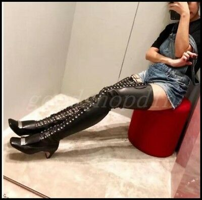 Womens Real Leather Over Knee Thigh Boots Studs Rivet Lace Up Gothic Shoes Punk