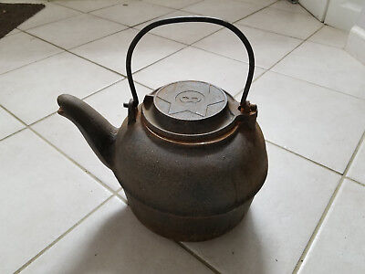 Antique Solid Cast Iron Chattanooga Star #8 Stove Teapot Tea Kettle Swivel Lid