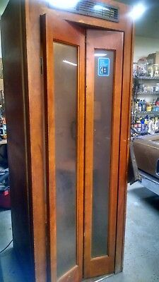 Antique Wooden Telephone Booth With Vintage Coin Operated Phone