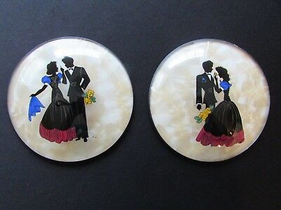 Vintage Silhouettes Pair Bubble Glass Peter Watson Studios Hand Painted For Wall