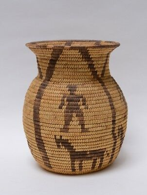 "Handsome Papago Indian Storage Basketry Olla 4 Men / Horses,  9.5"" h"