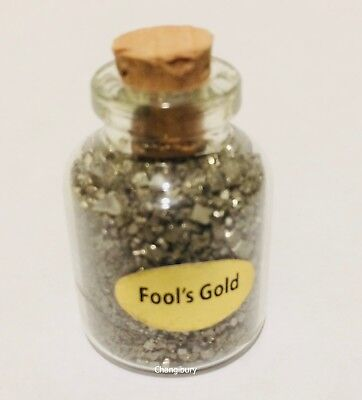 Pyrite Fools Gold Iron Pieces Chips Gems in Bottle Wealth Feng Shui Healing Gift