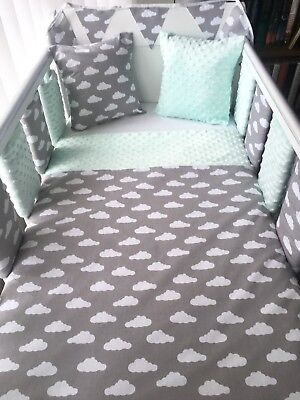 💚 Handmade Baby Quilt Cot And Cot Bed Size Grey Clouds With Mint Dimple 💚