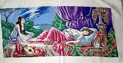 "Large Needlepoint 52 1/2"" X 30 1/2"" Total Size, Lady & Girl, Beautiful Coloring"