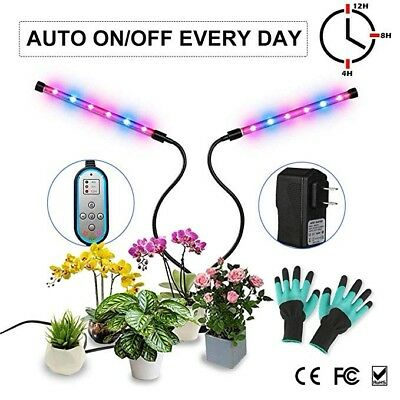 Plant Grow Lamp Auto ON & Off W/2-Way Timer 24W Dual Head High Power LED & More!