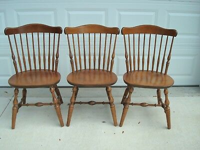 S Bent Bros Colonial Windsor Fan Back Maple Chairs (3)