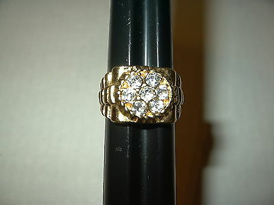 Vintage Men's Heavy Goldplate & 7 Clear Crystal Ring - Size 10 1/2 - 10.1 Grams