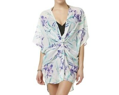 38dc3c36f3fa2 Tropical Escape Women s Knotted Swim Cover-Up Swim Floral Size Large Blue  NWT