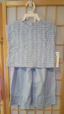 Young Colors Brand Toddler Girls Baby's Blue Bonnet Cotton Top & Pants NWT