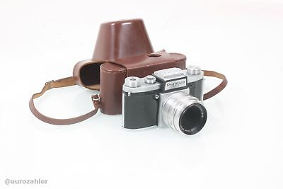 Praktica FX2 F.X 2 35-mm Kamera mit Carl Zeiss Tessar 2.8/50 mm original Lede...