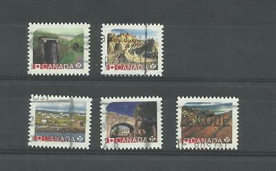 Used Canada Stamps #2964 - #2968 Unesco World Heritage Sites From Booklet 2017