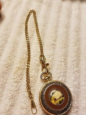 Franklin Mint American Bald Eagle Goldtone Pocketwatch .