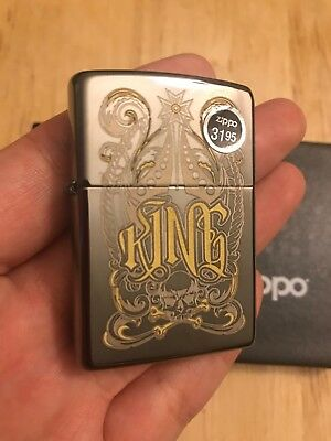 New Zippo 28798 king-venetian design black ice chrome finish full size Lighter