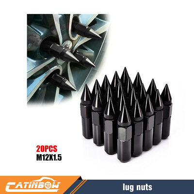 Black 20PCS Tuner Extended Spike Wheel Lug Nuts for Rims M12X1.5 60mm Aluminum