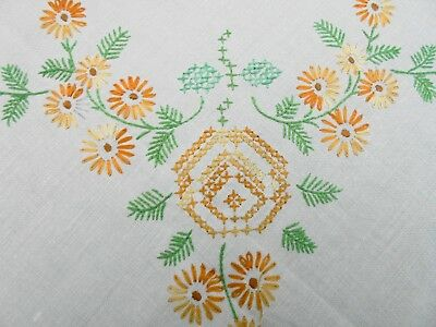 Vintage Hand Embroidered Orange Daisies Linen Table Supper Cloth Crocheted Edge