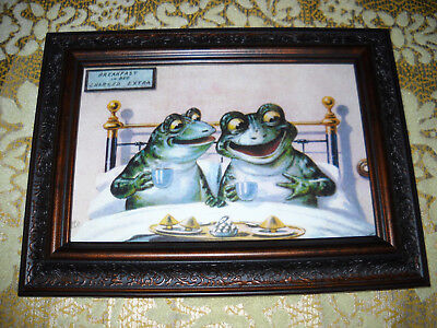 FROGS HAVE BREAKFAST 4 X 6 brown framed animal print Victorian style art picture