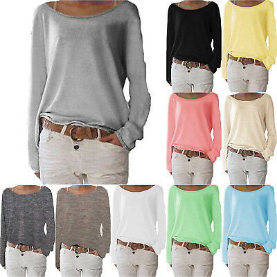 Fashion Women Off Shoulder Long Sleeve Blouse Jumper Pullover T-Shirt Casual Top