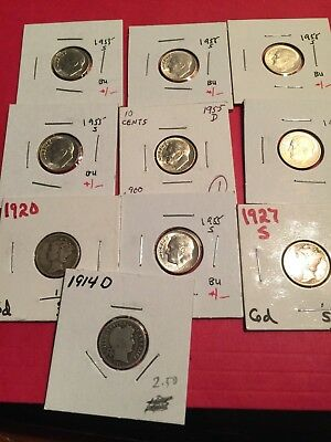 10 10c Roosevelt, Barber, and Mercury dimes from 1914-D to 1955-S, lot a11