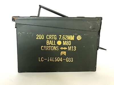 US ARMY AMMO CANS- 30 CAL / 7.62 MM NATO M80 M13 200 Cartridge- 10 X 7 X 4""