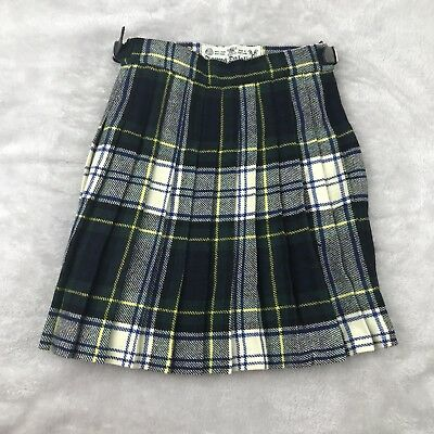 Vintage Girls Plaid Skirt Pleated Wool James Dalgliesh Scotland Size 4