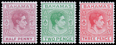 Bahamas Scott 154-156 (1951-52) Mint LH VF Complete Set M
