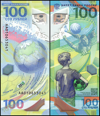 Russia 100 Rubles Banknote, 2018, P-NEW, UNC, Polymer, FIFA World Cup, Soccer
