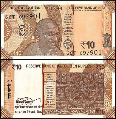 India 10 Rupees Banknote, 2018, P-NEW, UNC, Mahtma Ghandi, Carved Chariot Wheel