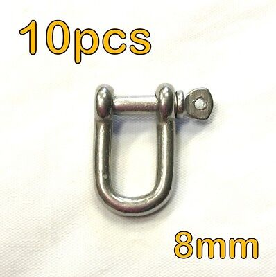 10pcs - 8mm STAINLESS STEEL DEE D SHACKLE MARINE SHADE SAIL CAR MOORING #3